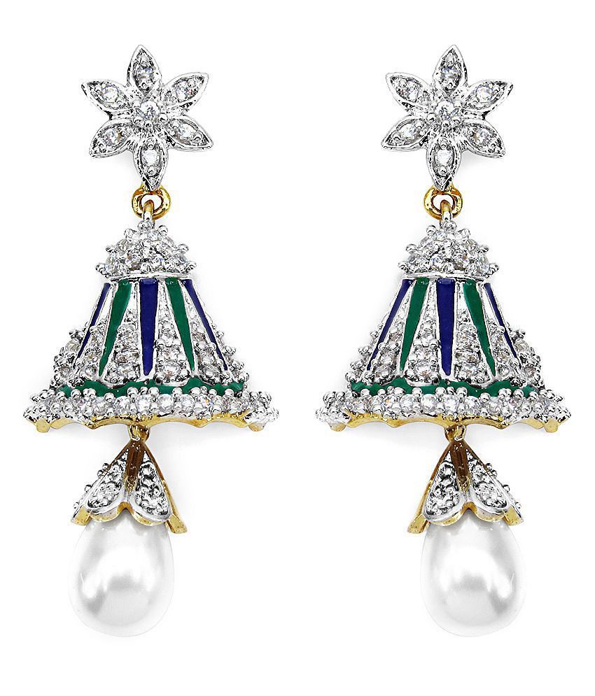 Gleam Touch 11.78 Grams White Pearl & Cz Gold Plated Brass Purple & Green Chandeliers