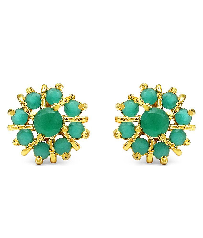 Gleam Touch 3.23 Grams Green Glass Gold Plated Brass Stud Earrings