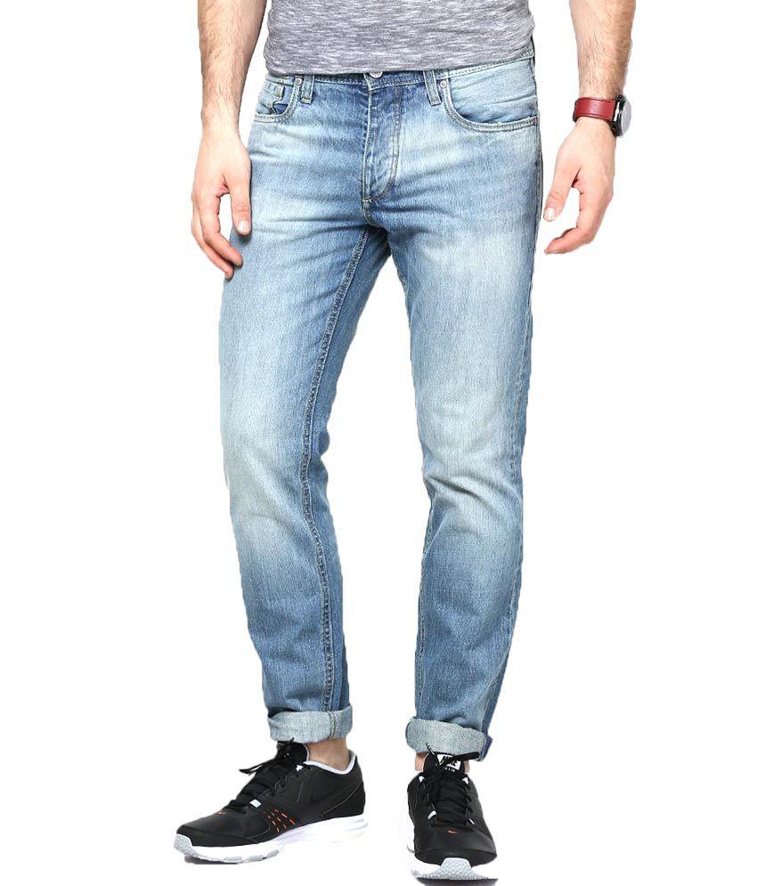 Jack & Jones Blue Cotton Skinny Fit Jeans For Men
