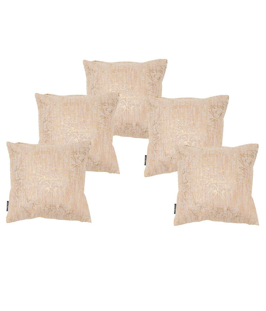 Ambbi Collections Beige Printed Polyester Cushion Cover