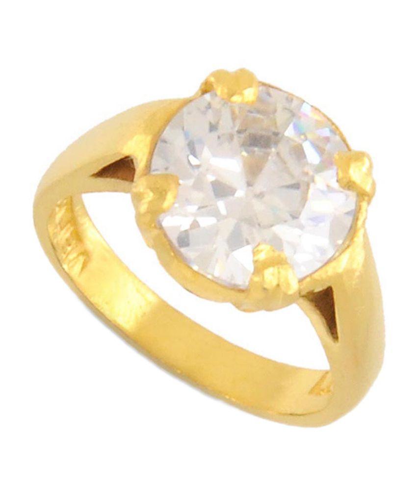 Avaatar 10.25 Ratti Zircon White Stone Ring In Panchdhatu