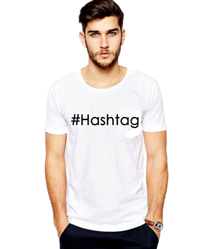 iLyk Men's  Hashtag Printed White T-Shirt