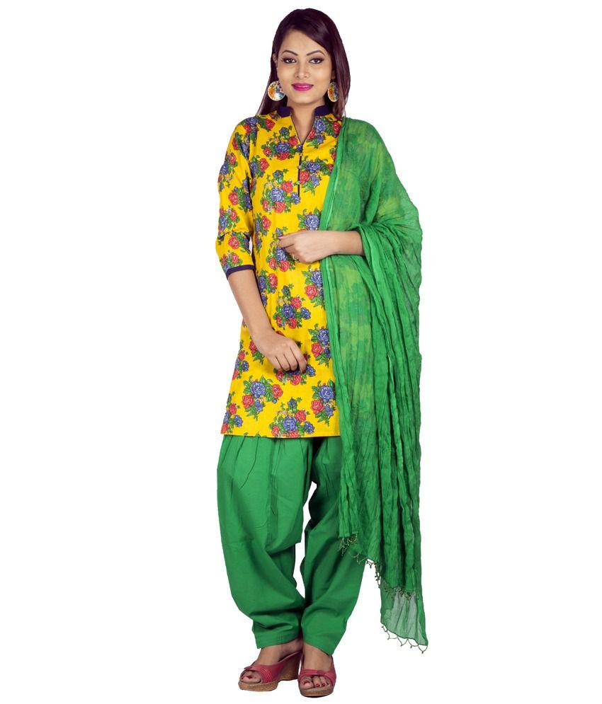 Jaipur Kurti Pure Cotton Complete Set Of Yellow Kurta And Green Patiala Dupatta