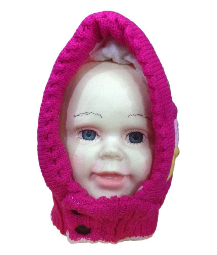 Oswal Pink Woollen Kids Woolen Cap