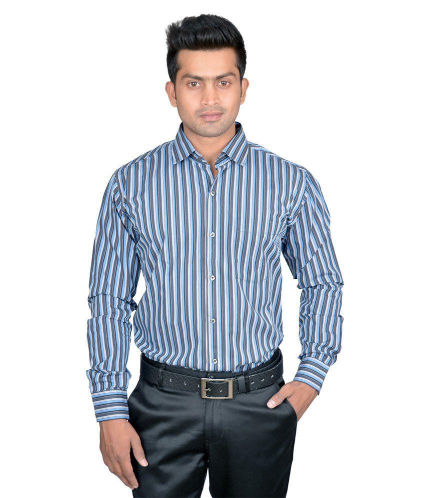 Richmond Paris Blue&gray Strips Cotton Shirt