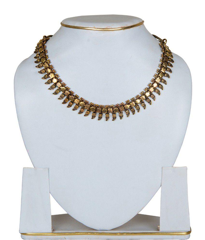 Taj Pearl Designer Brass Oxidized Necklace