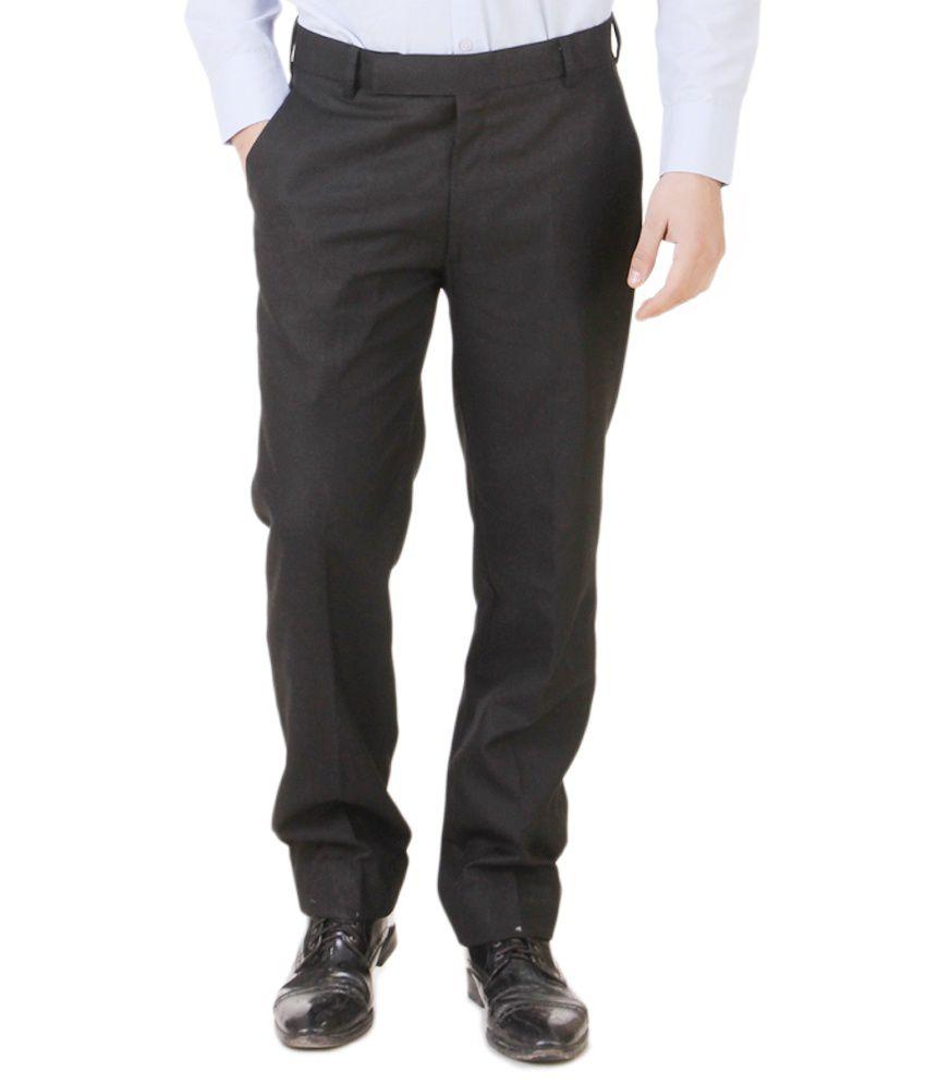 Southern Alps Black Cotton Blend Regular Fit Formal Mens Trouser
