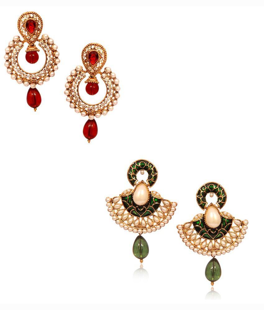 Bachateraho Beautiful Diva Style Big Saving Combo Of 2 Earrings Pair