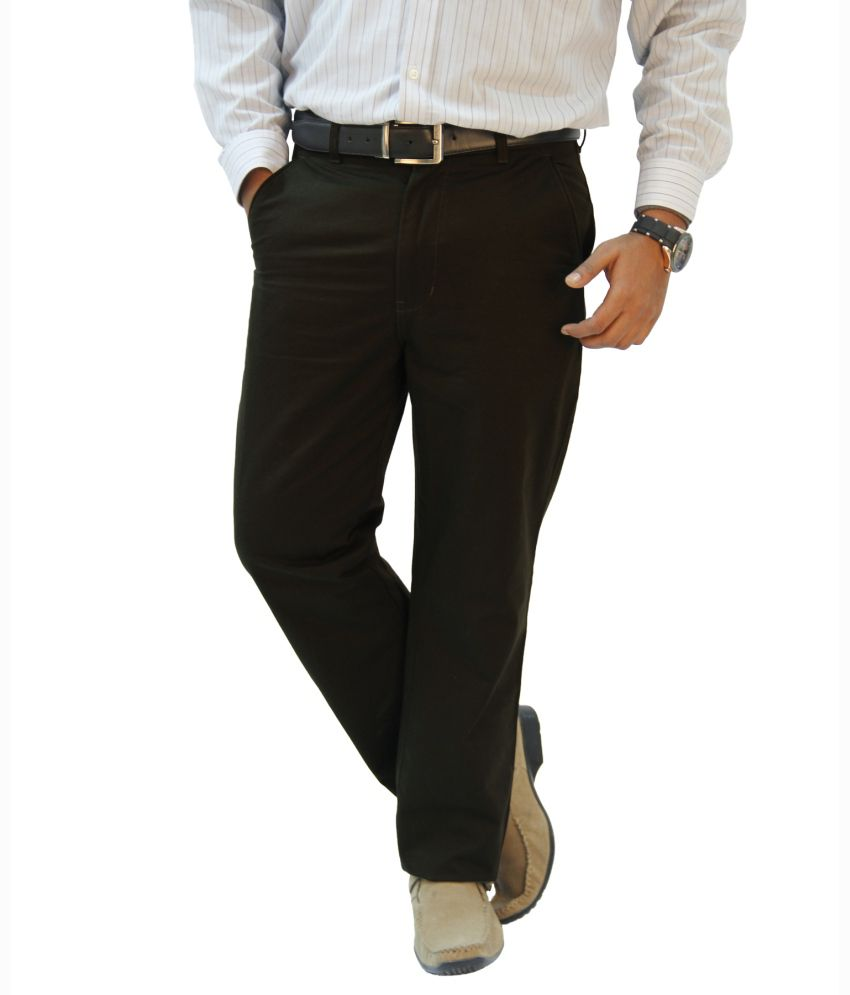 Crocks Club Gray Cotton Regular Chinos