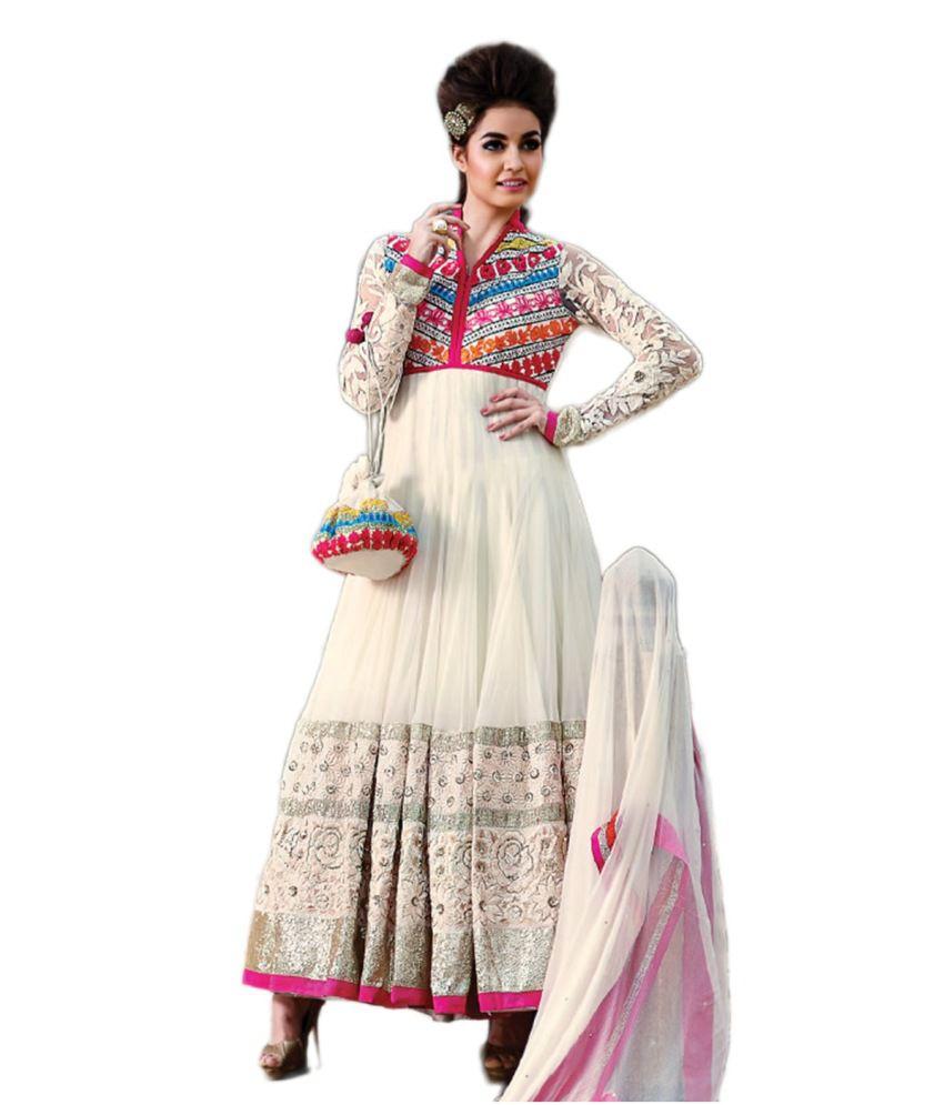 Fashion Pearl Fashion White Net Embroidered Anarkali Dress Material