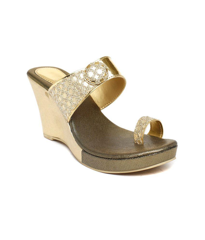 Wellworth Gold High Heel Wedding Wear Heeled Slip-on