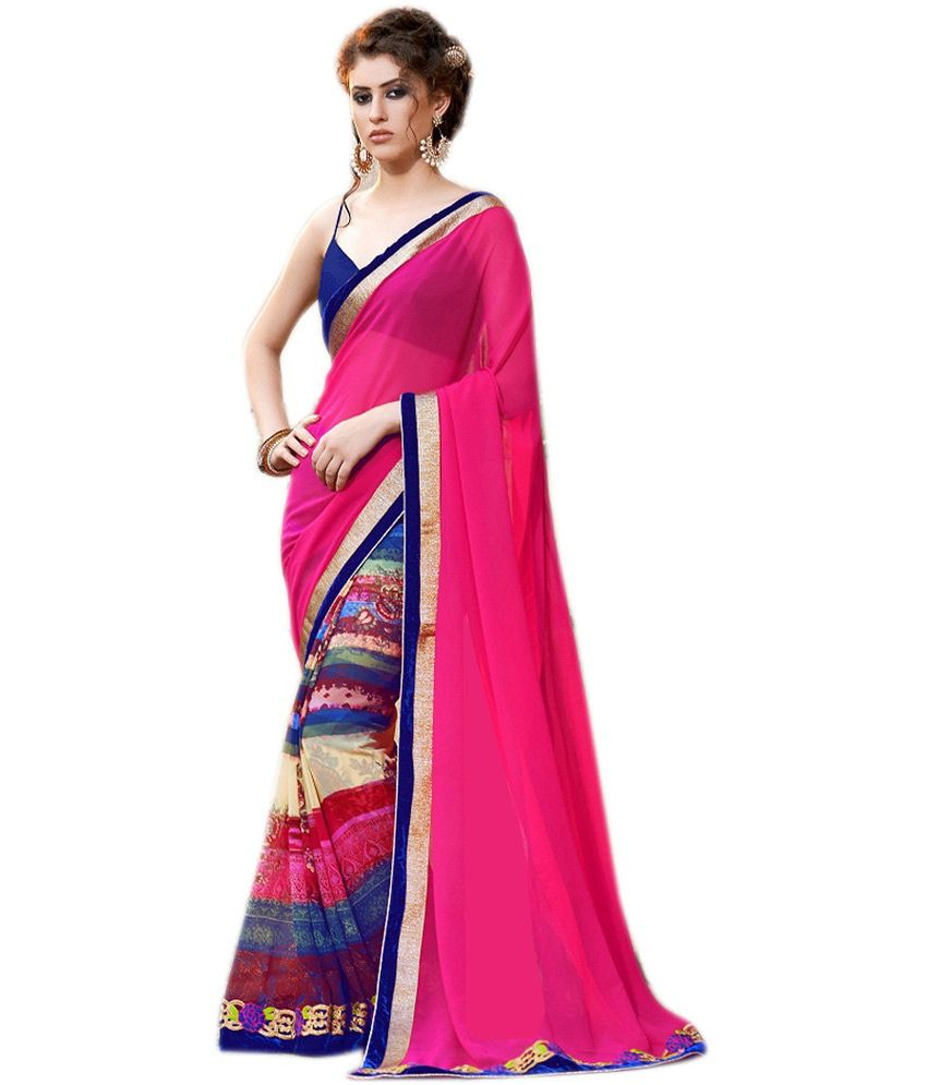 Queen's Pink Pure Georgette Printed Saree With Blouse Piece