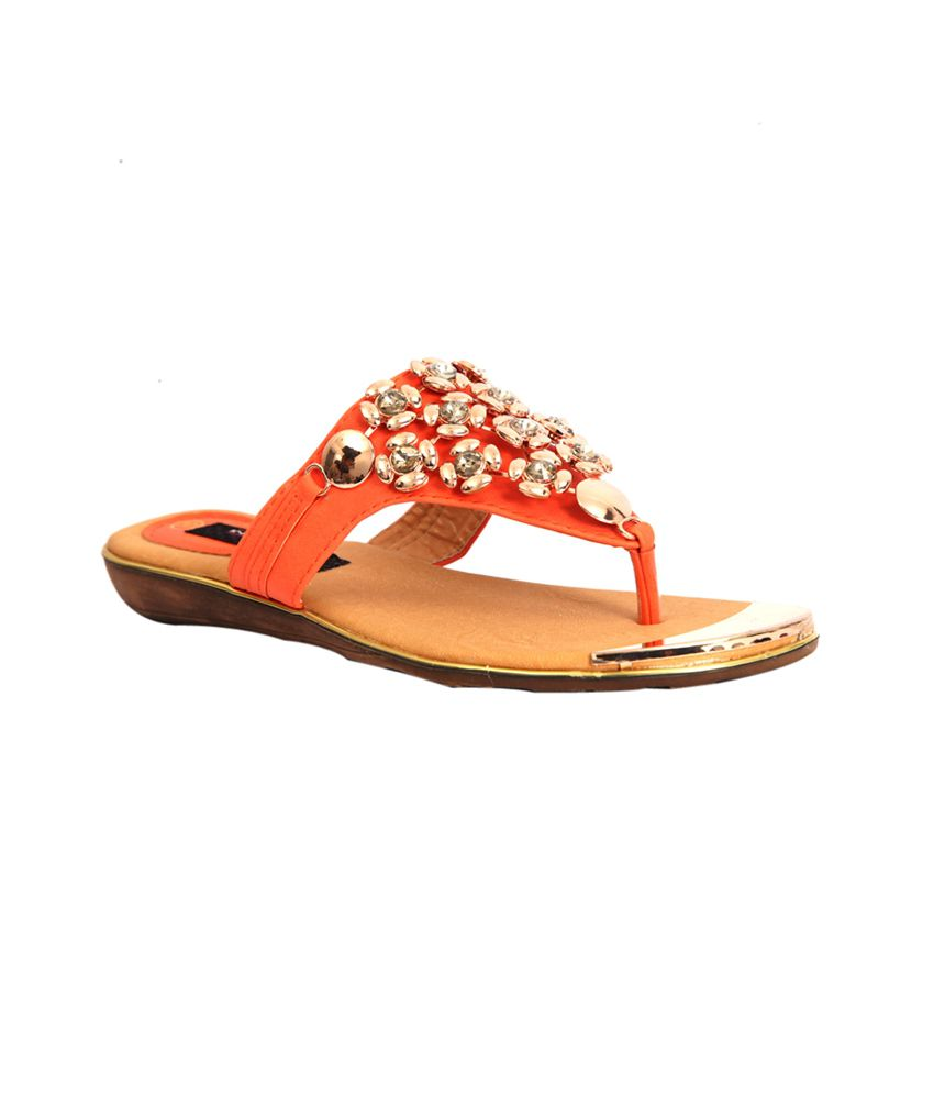 Trilokani Orange Low Heel Slipper