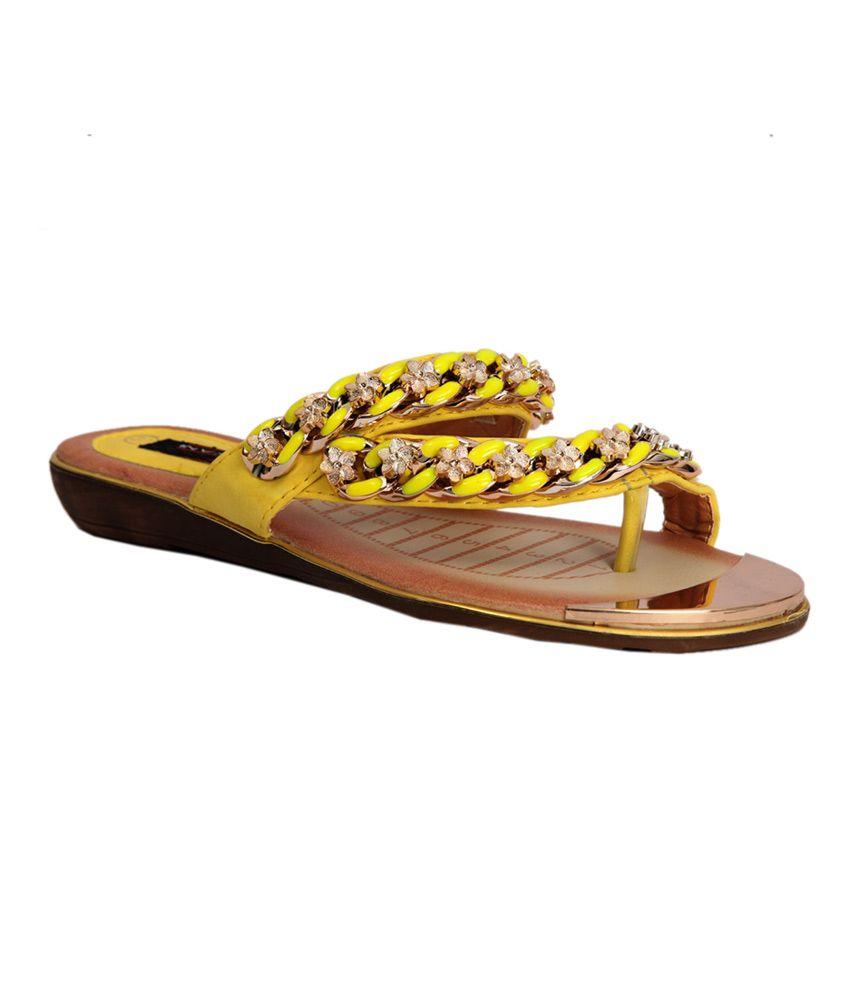 Trilokani Yellow Synthetic Slipper