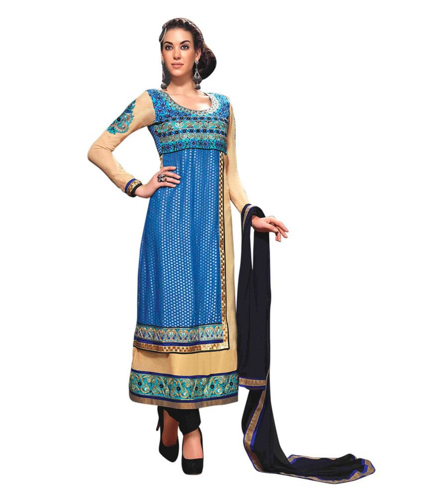 Ethnicbasket Designer Cream+blue Suit