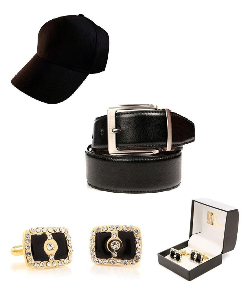 Men In Black-gifting Combo Of Black Leather Belt, Cufflinks And Cap By CreateAwitty INC