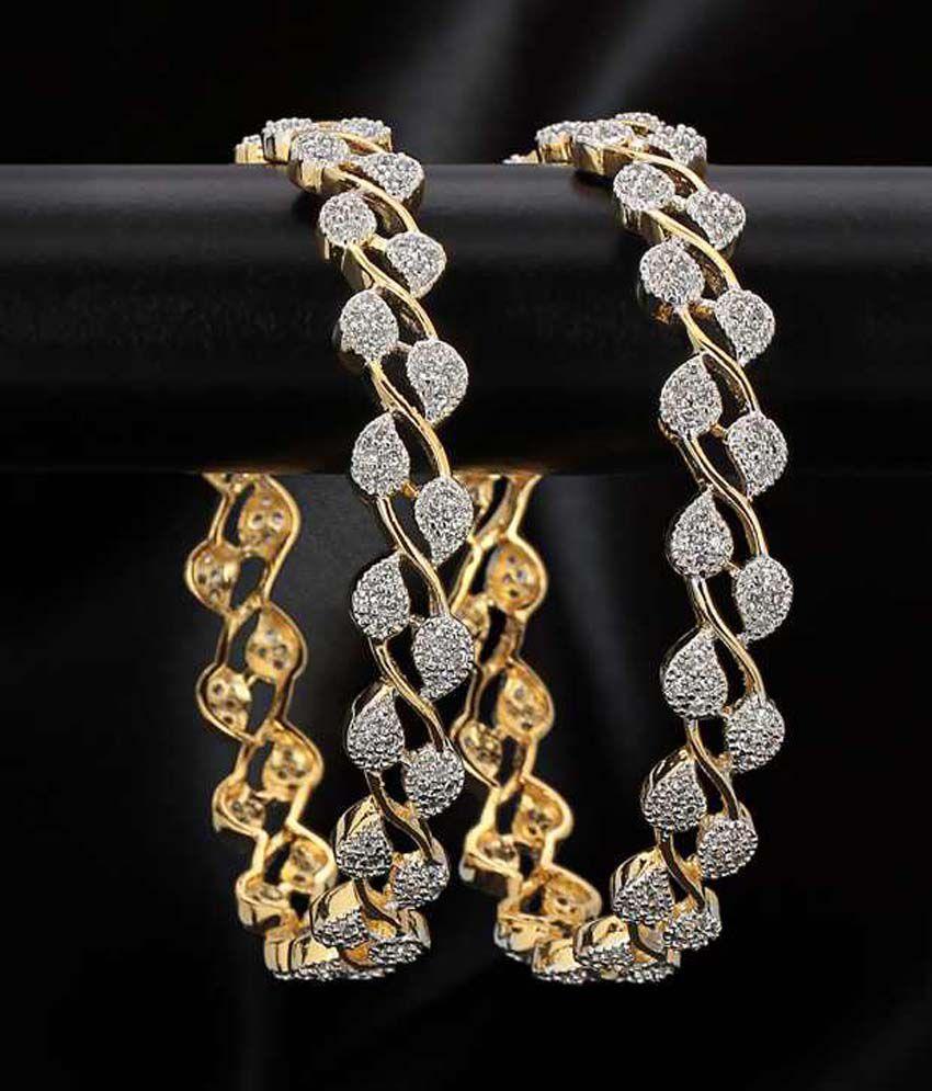 Padmawati Fashion House Gold Plated American Diamond Beatuiful Bangles