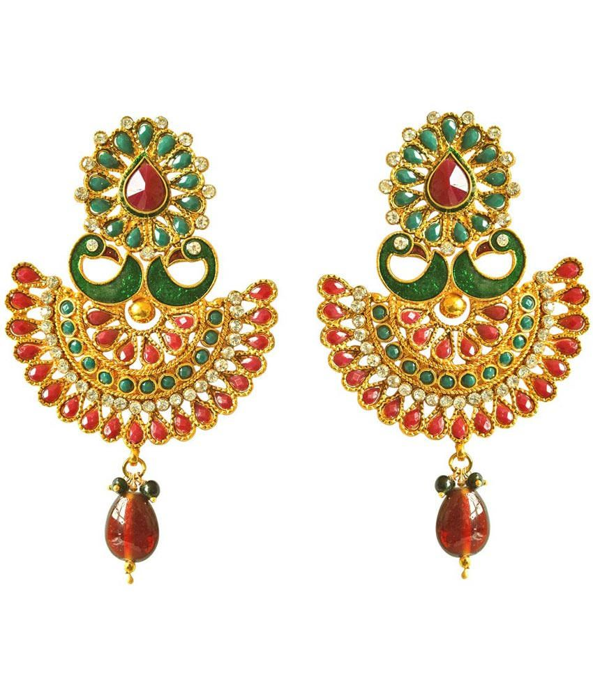 Surat Diamonds Red Push Back Mayur Earrings For Women
