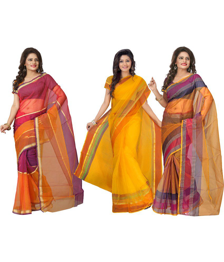 Florence Multicolour Printed Tissue Saree Without Blouse Piece - Pack Of 3