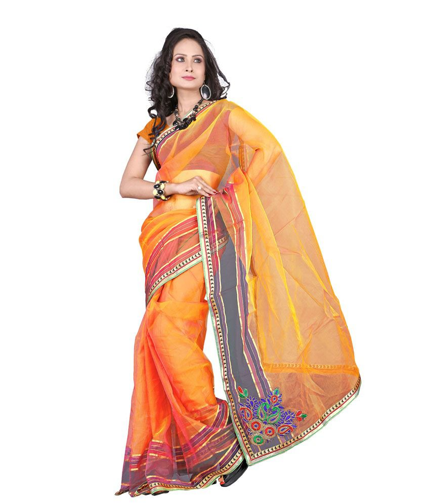 Florence Multicolour Printed Tissue Saree With Blouse Piece - Pack Of 3