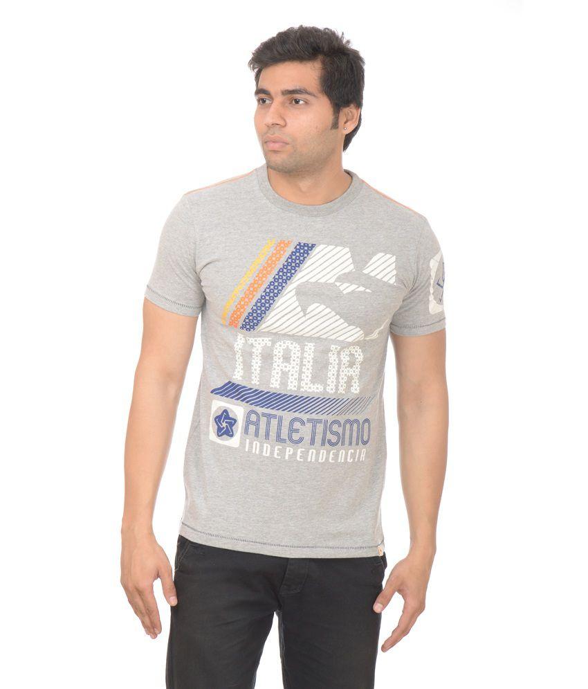 Drastic Gray Printed Cotton Designer Half Sleeve T-shirt