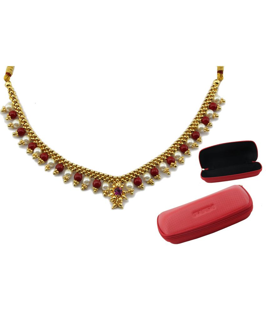 Jstarmart Traditional Kolhapuri Necklace And Earring With Sunglass Case