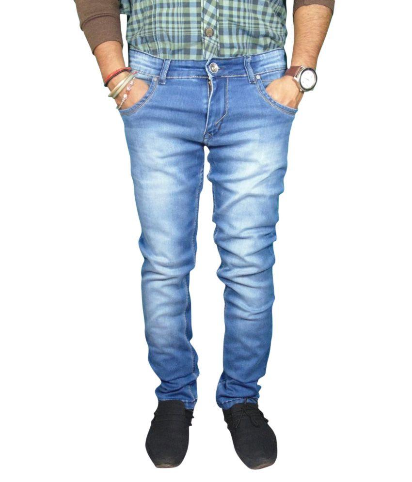 Muski Blue Cotton Straight Fit Basic Jeans