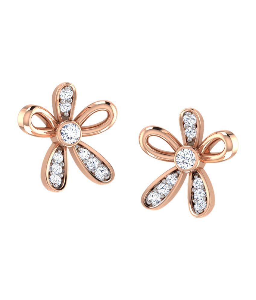 Caratlane Floral Design Stud Earrings