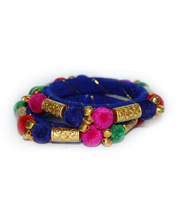 Glitters Blue Traditional Ghungroo Bangle Set