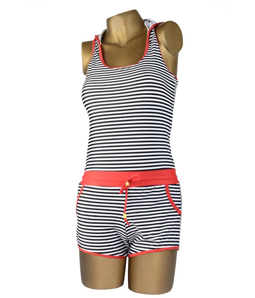 Indraprastha Striped Jump Suit Style Swimsuit Swimwear/ Swimming Costume