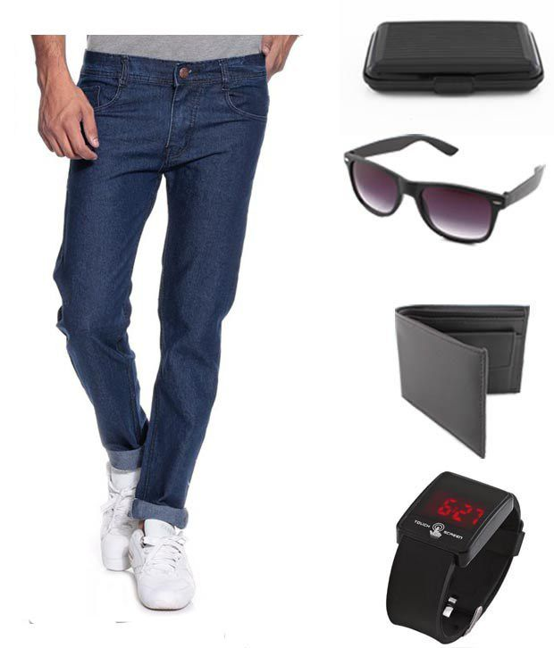 Keepsake Combo Of Mens Jeans With Wallet, Watch, Wayfarer Sunglasses & Cardholder