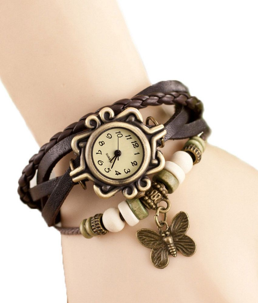 Eleganzza Black Quartz Designer Bracelet Wrist Watch For ...