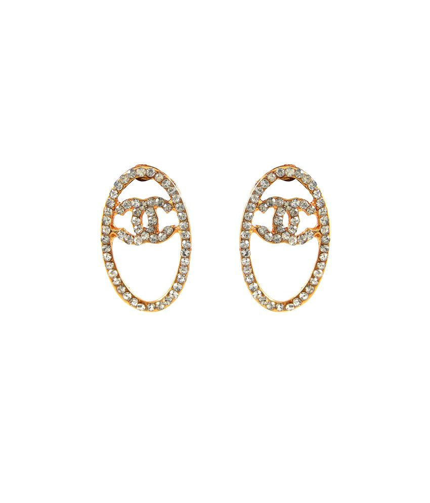 Jazz Jewellery Oval Design With White Stones Earring For Women