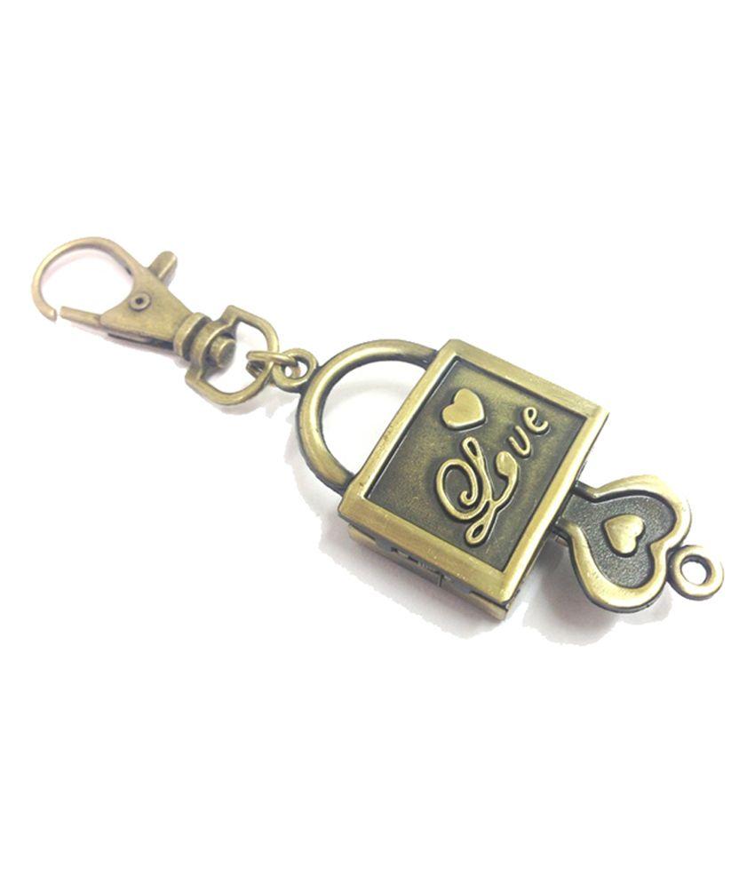 Kairos Metal Designer Lock And Key Love Pocket Watch Clock Keychain