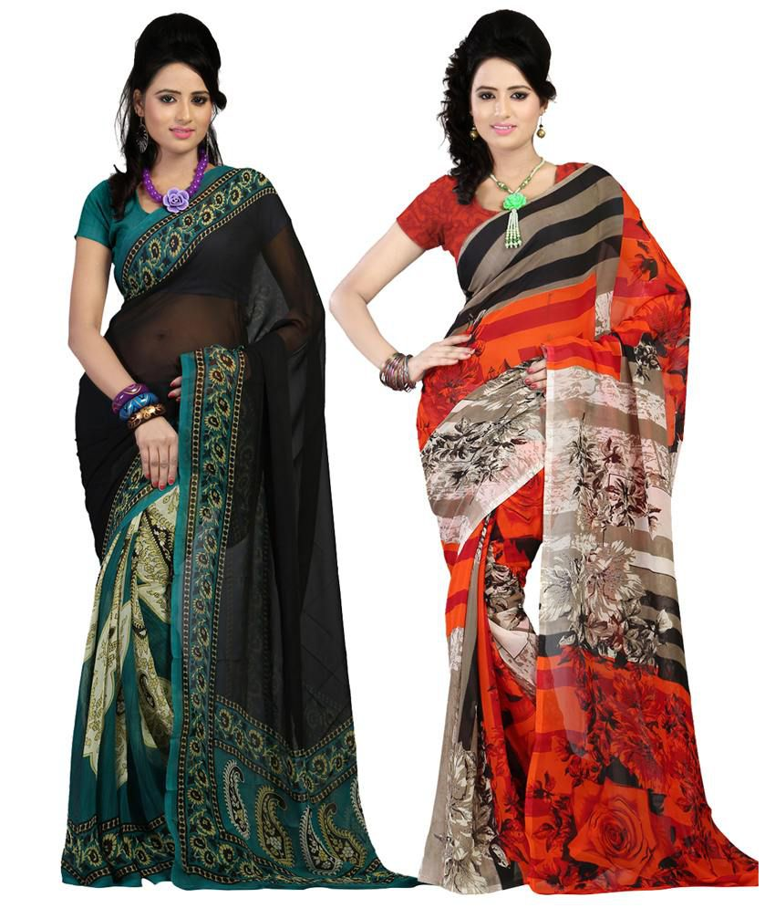 Kartik Creation Faux Georgette Saree With Unstitched Blouse Piece-pack Of 2