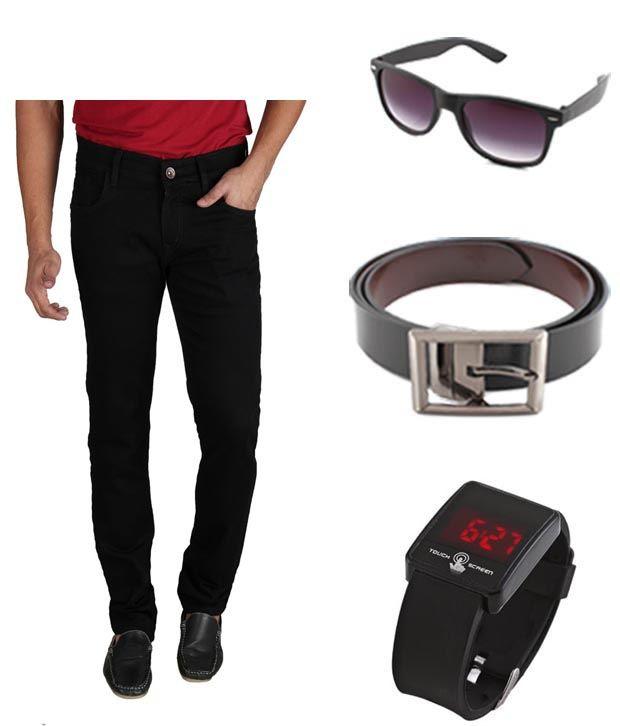 Keepsake Combo Of Mens Jeans With Watch, Belt & Wayfarer