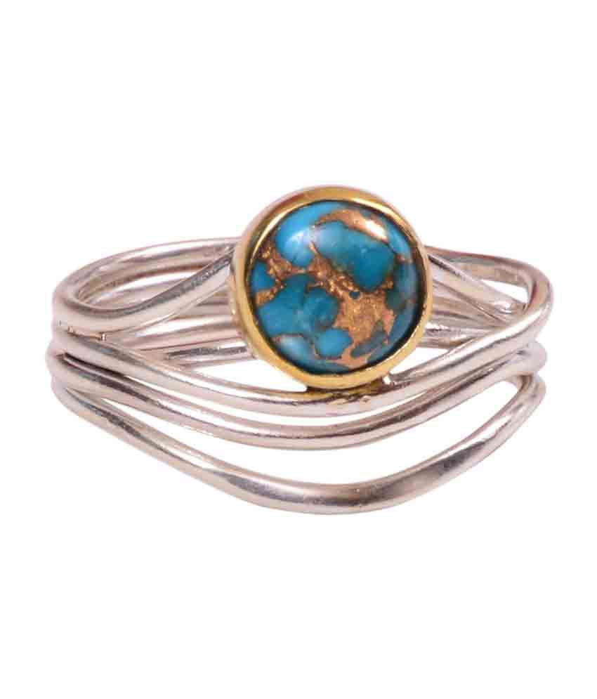 Rubera's Sterling Silver Ring With Turquoise Tibetian Stone
