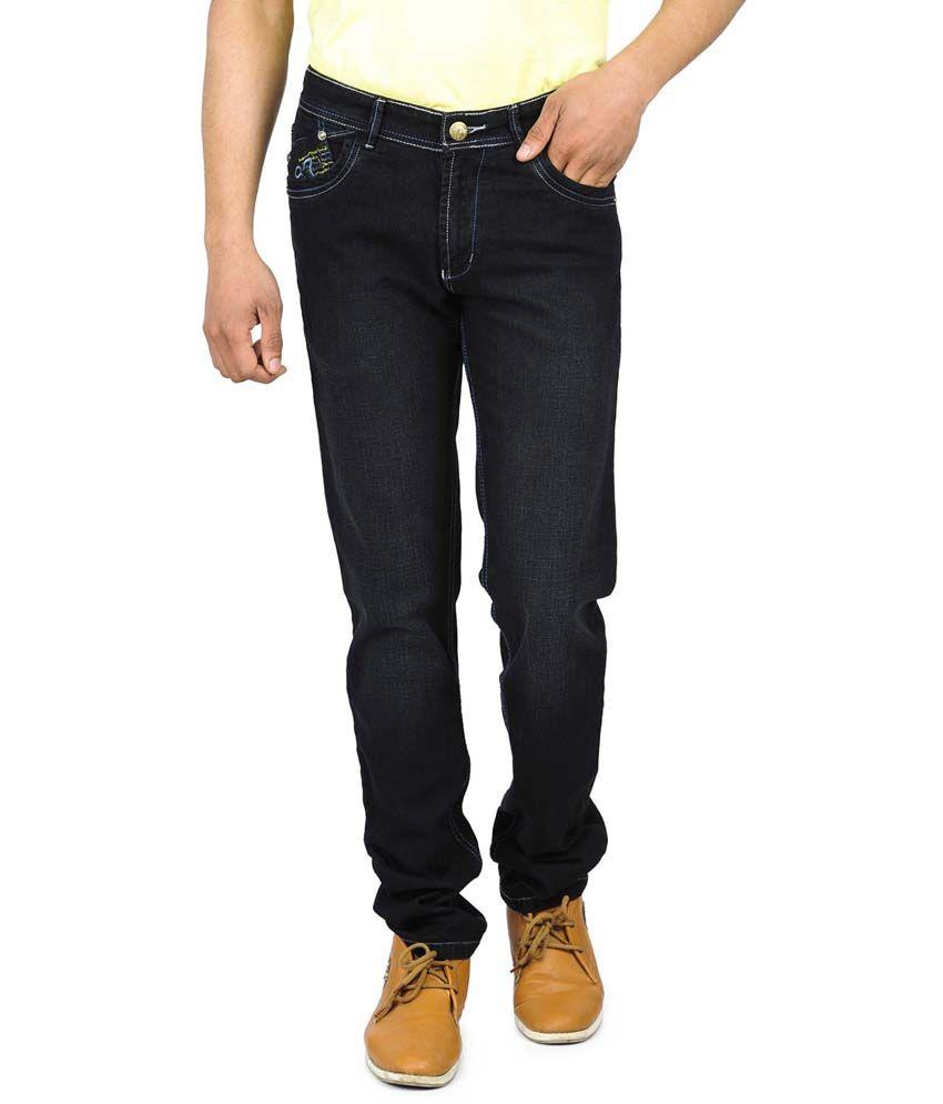 Wintage Black Regular Fit Cotton Jeans