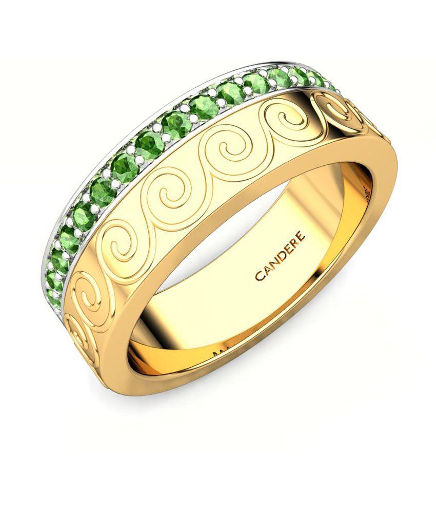 Candere Aashini Tourmoline Green Yellow Gold Band
