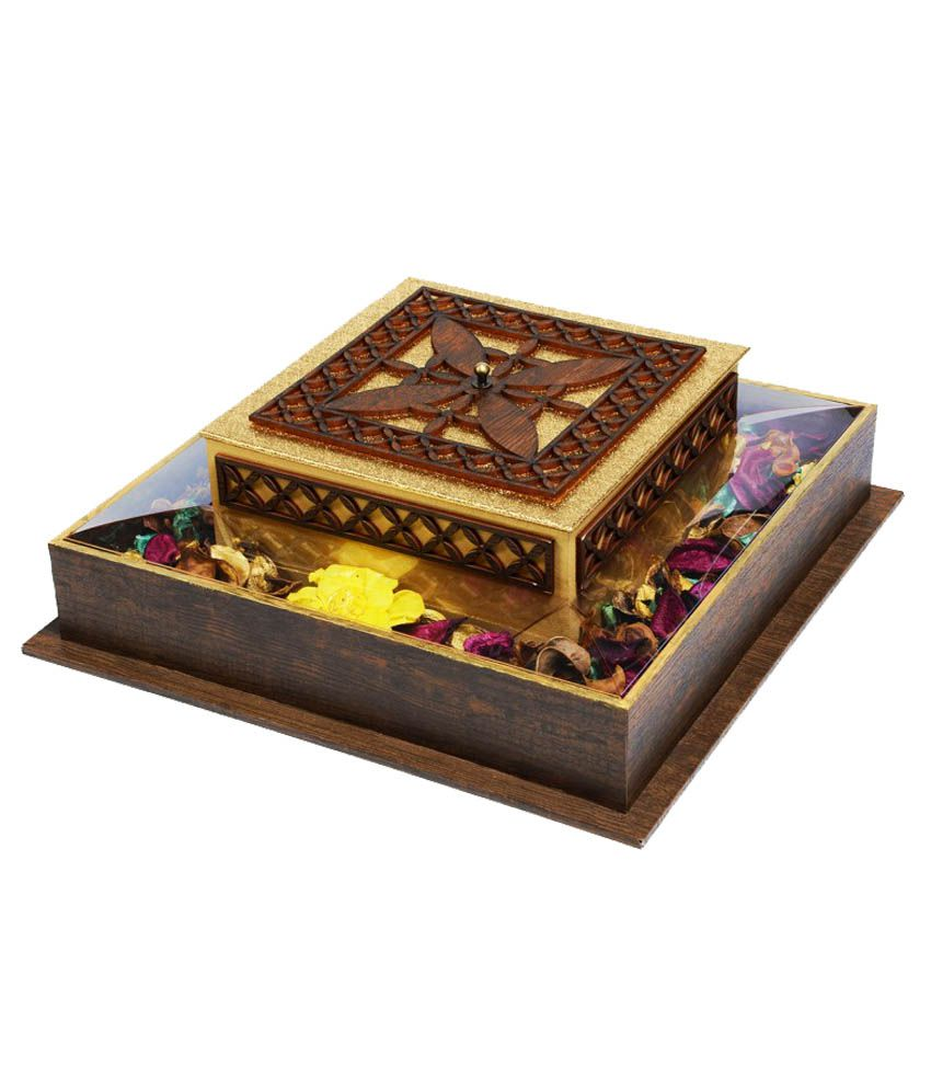 K.p. Printocraft Antique Top Square Jewellery Box