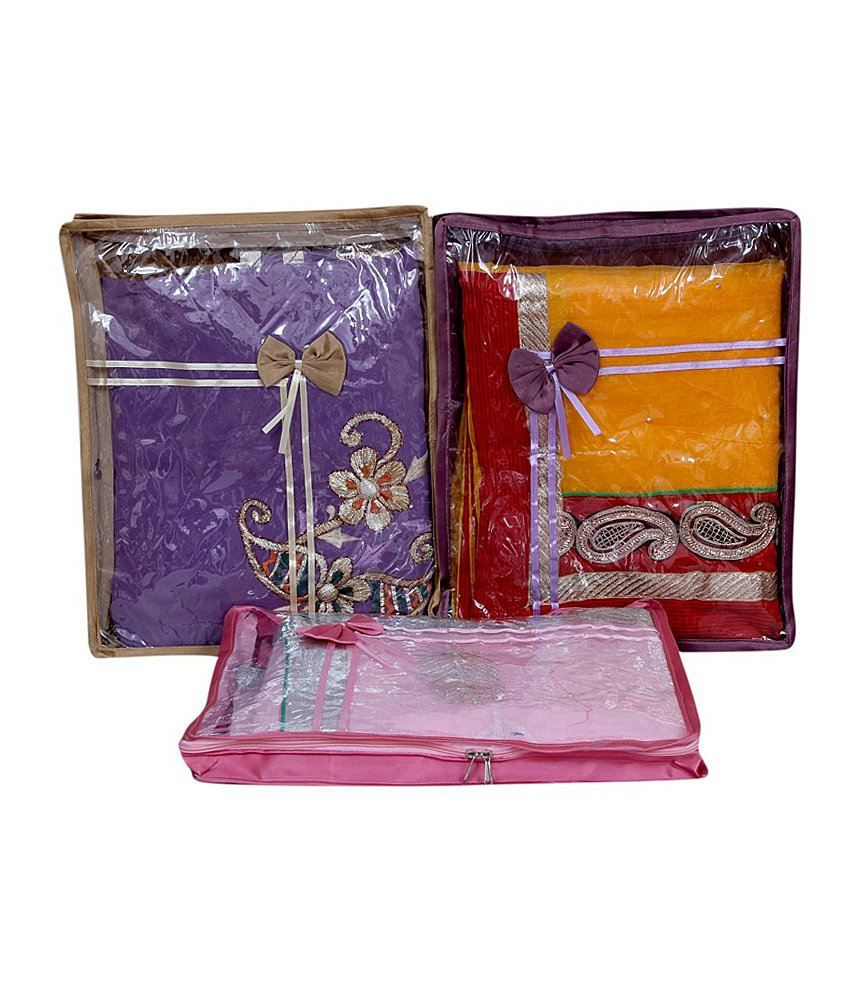Kuber Industries Multicolour Saree Packing Cover 3 Pcs Combo In Satin
