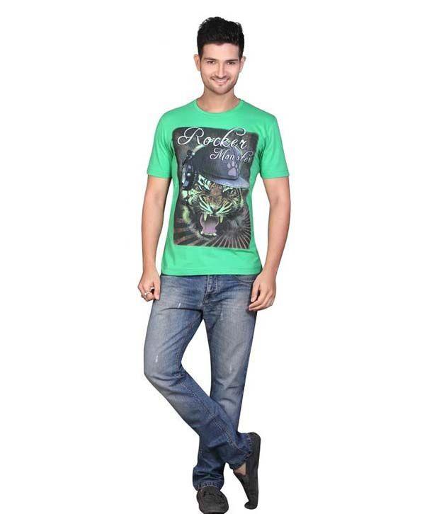 Mahavir Creation Green Round Neck Printed Cotton T-shirt