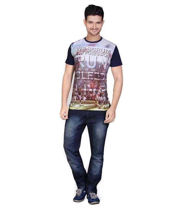 Mahavir Creation Yellow Round Neck Printed Cotton T-shirt