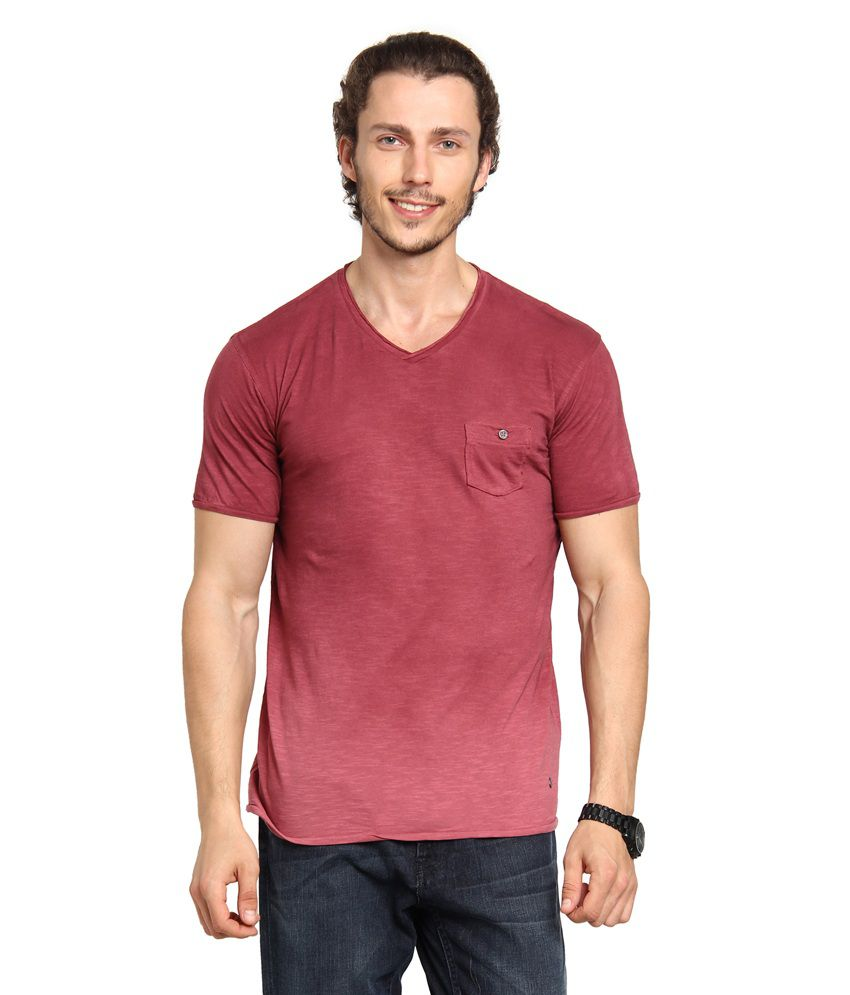 Men Red Half Sleeves Solid Cotton T-shirt