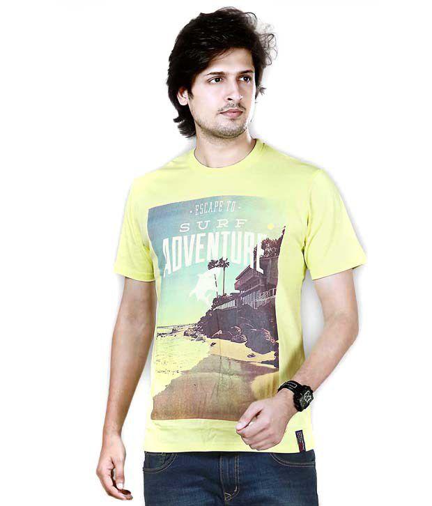 Snowdrop T Shirts Yellow Printed Cotton T-shirt