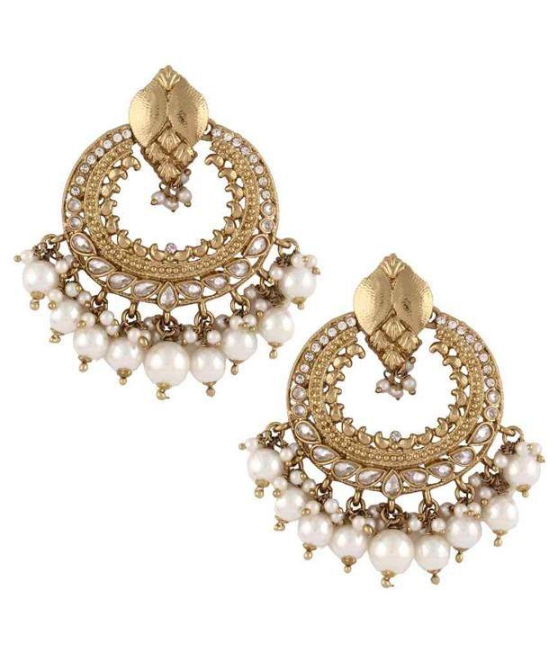The Jewelbox Pearl Kundan American Diamond Antique Gold Chaand Jhumki Earring