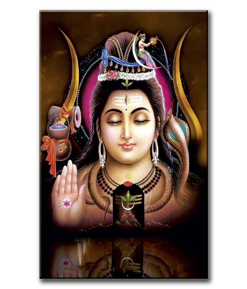 Anwesha's Gallery Wrapped Canvas Digital Print Wall Painting 12.5 X 20 Inch - Lord Shiva