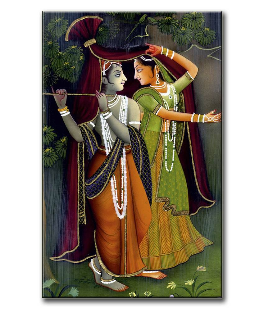 Anwesha's Gallery Wrapped Canvas Digital Print Wall Painting 12.5 X 20 Inch - Radha Krishna