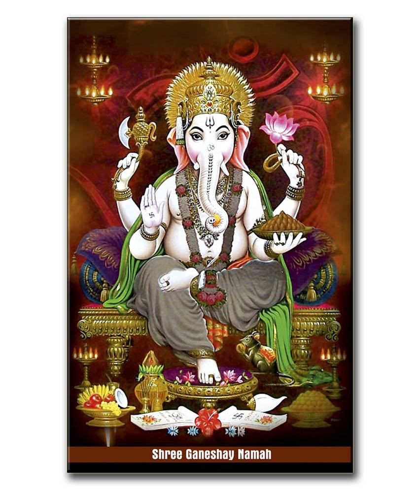 Anwesha's Gallery Wrapped Canvas Digital Print Wall Painting 12.5 X 20 Inch - Ganesh