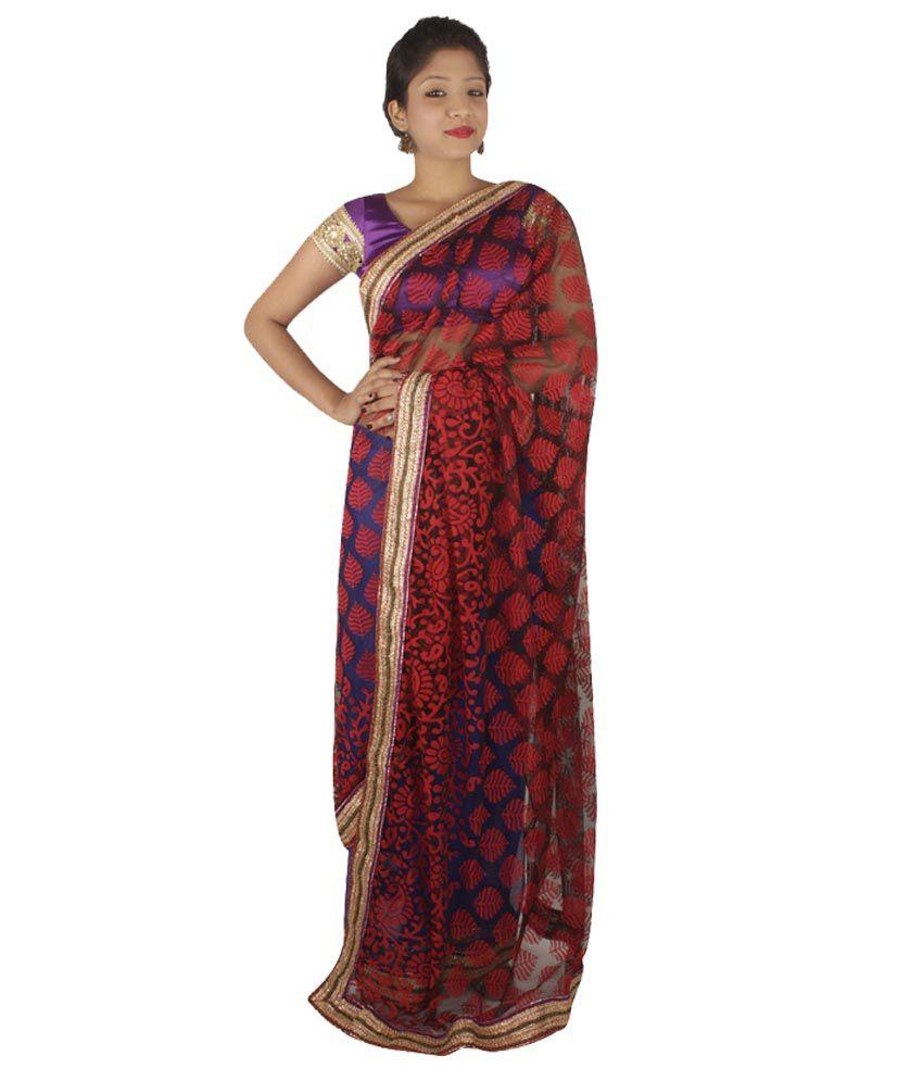 Divya Sarees Blue Net Saree